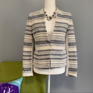 AMS Pure Tweed Striped Faux Suede Blazer Jacket